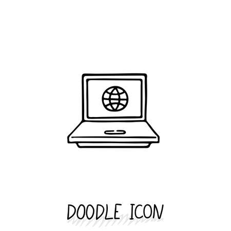 ultrabook: Doodle Laptop Icon illustration. Compact PC, netbook, ultrabook.