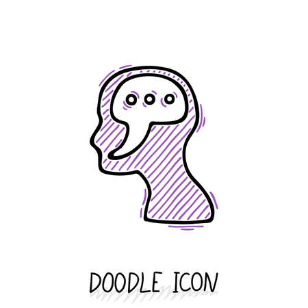 thinking link: Doodle icon with human head. Symbol exclamation, think and speak. Illustration