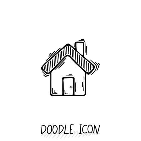 abode: Doodle home icon in retro style. Architecture, construction, village, homepage.