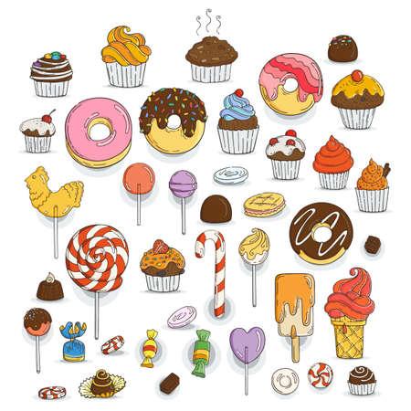 Set di Candy e muffin icone. Torte, dolci, lecca-lecca, archi.