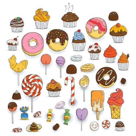 cupcake illustration: Set of Candy and Muffins Icons. Cakes, Sweets, Lollipops, Bows.