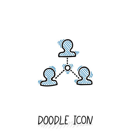 social gathering: Doodle connection icon. Vector communication concept.