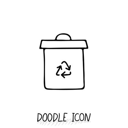 landfill: Doodle recycle bin icon. Trash can. Eco pictogram.