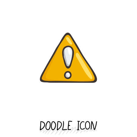 Doodle hazard warning sign with exclamation mark. Attention icon. Alert symbol.