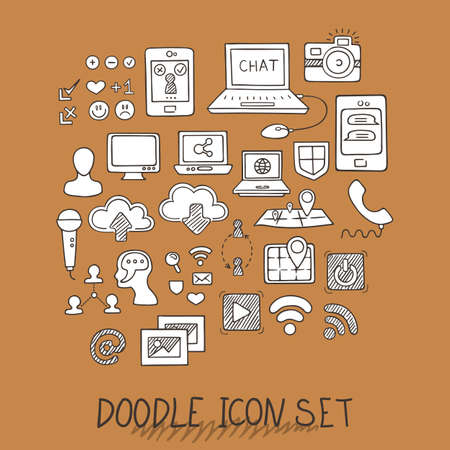 pc: Set of Universal Doodle Icons. Variety of Topics. Computers, Communications, Clouds, Social Networks. Illustration