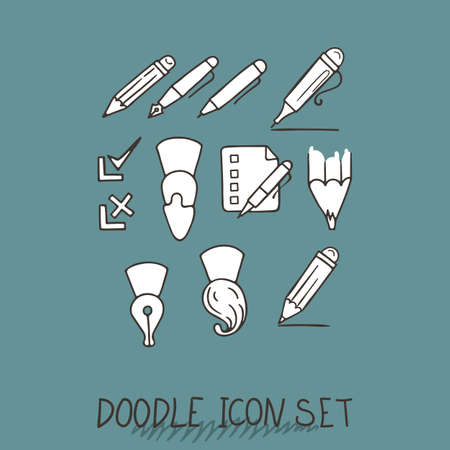 topics: Set of Universal Doodle Icons. Variety of Topics. Stationery.