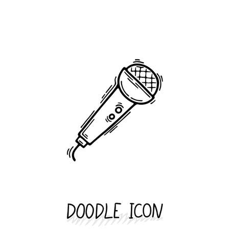translator: Doodle microphone icon. Speaker pictogram. Voice translator. Illustration