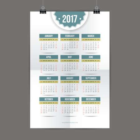desk calendar: Design for calendar 2017. English or American system. Sunday start. Vector illustration. Illustration