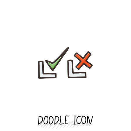 yes or no: Doodle check mark icons. Symbols for YES and NO. Set of pictogram.