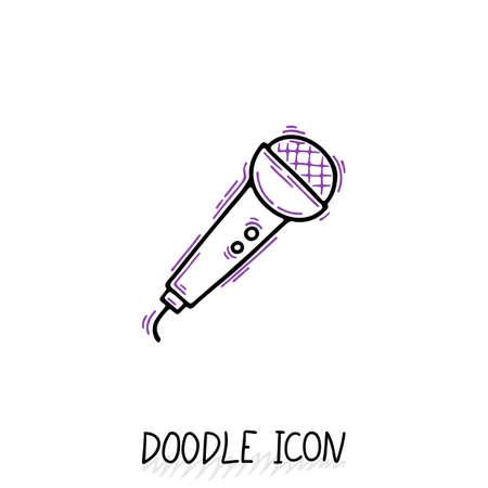 Doodle Microphone Icon. Speaker Pictogram. Voice Translator. Royalty ...