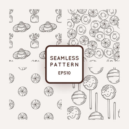 buns: Set of Vector Candy and Bows Seamless Patterns. Sweet Party Texture. Buns and jelly beans.