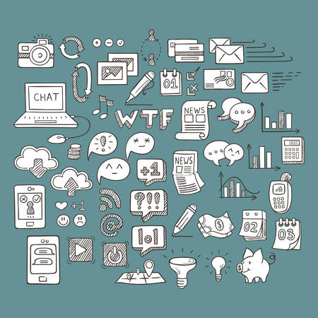 topics: Set of Universal Doodle Icons. Variety of Topics. Web, Mail and Money. Illustration