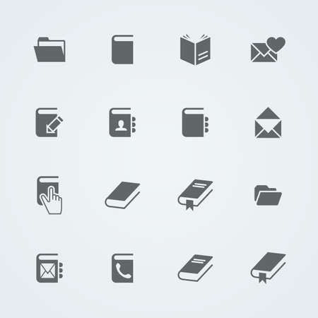nonfiction: Simple set of books and mail. Flat related vector icons for your design. Illustration
