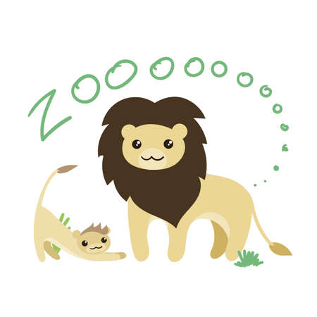 leon de dibujos animados: Conjunto de Vector lindo del animal del parque zoológico. kawaii ojos y estilo. Doodle ilustración. León.