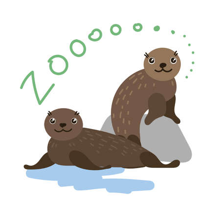 fur seal: Set of Cute Vector Zoo Animal. Kawaii eyes and style. Doodle illustration. Fur seal