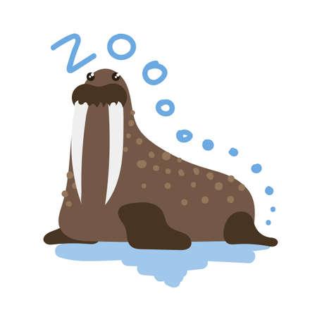 sea cow: Set of Cute Vector Zoo Animal. Kawaii eyes and style. Doodle illustration. Walrus Illustration