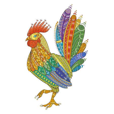 animal cock: Gallo coltivatore domestico uccello per le pagine da colorare, illustrazione zentangle o tatuaggi con dettagli elevati. Vector fantasia cazzo. Vettoriali
