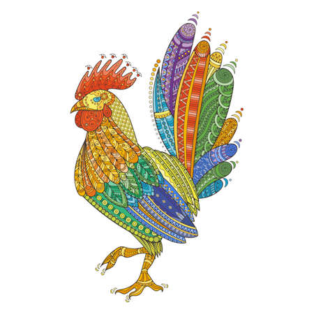 animal fauna: Rooster domestic farmer bird for Coloring pages, zentangle illustration or tattoos with high details. Vector patterned cock.