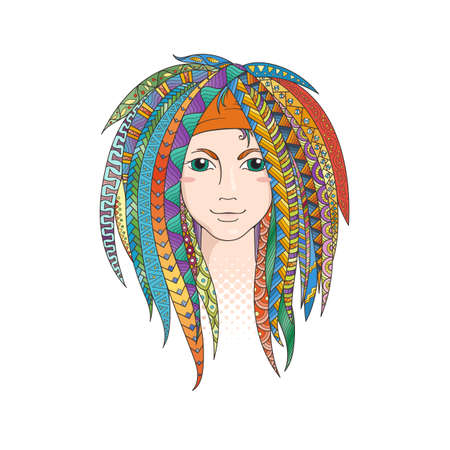 goth girl: Colorful young girl with patterned zentangle dreadlocks. Ornate hairstyle. Vector illustration.
