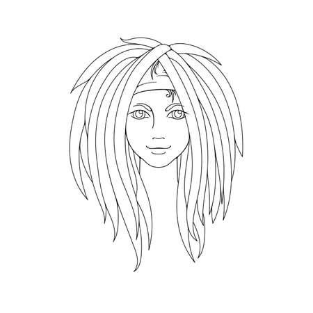 dreadlocks: Young girl with dreadlocks. Freak hairstyle. Picture for coloring. Vector illustration.