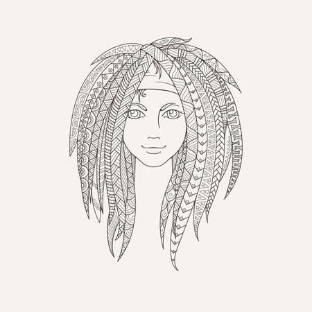 dreadlocks: Young girl with patterned zentangle dreadlocks. Ornate hairstyle. Picture for coloring. Vector illustration. Illustration