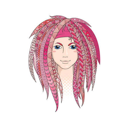 dreadlocks: Colorful young girl with patterned zentangle dreadlocks. Ornate hairstyle. Vector illustration.