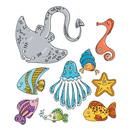 sea creatures: Set of cute doodle sea creatures. Vector illustration.