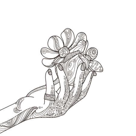 Belleza Zentangle Mano De La Mujer Con El Anillo, Las Uñas, La Bola ...