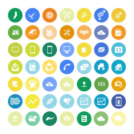 contact icon: Set of 49 Universal Icons. Simple Flat Style. Business, internet, web design.