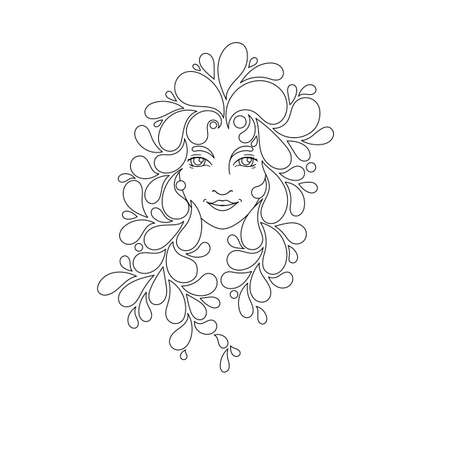 crazy hair: Print for the coloring book. Portrait of a beautiful girl with zentangle locks. Coloring page. Patterned hair. Vector illustration on white background.