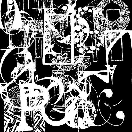 hand writing: Writing, grunge doodle background. Hand drawn abstract letters. Vector background.