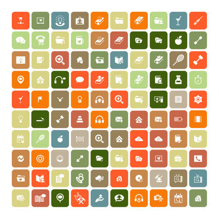 universal icons: Set of 100 Universal Icons. Simple Flat Style. Business, internet, web design, random pictogram. Illustration