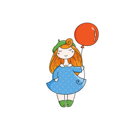 forelock: Doodle child. Cute Girl with Balloon.