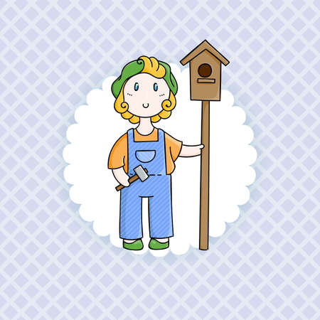 forelock: Doodle child. Boy with birdhouse. Illustration