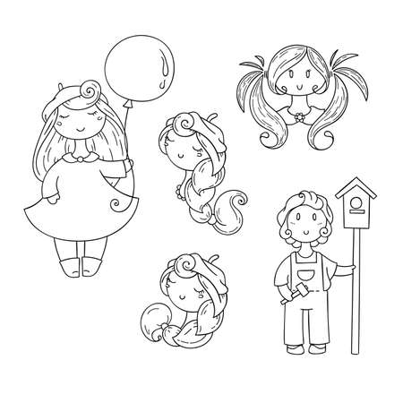 forelock: Set of doodle children. Boy with birdhouse, cute girls. Vector collection.