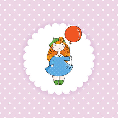 picks: Doodle child. Cute Girl with Balloon.