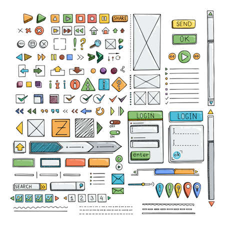 website layout: Hand drawn vector icons set website development doodles elements. Collection of web or decorating elements. Illustration