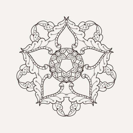 paganism: Vector mandala. Mehndi lace tattoo. Oriental weave. The circular pattern.