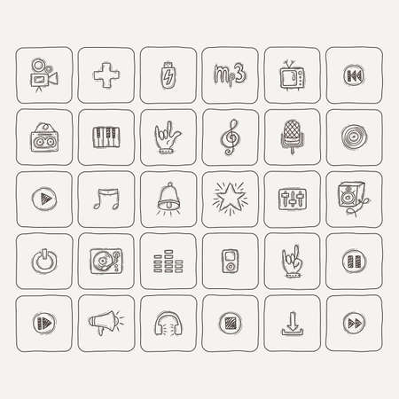 piano roll: Set of Music Doodle Icons. Vector collection.