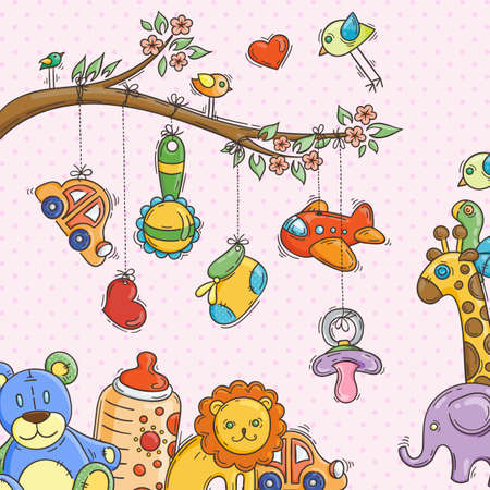 Greeting card with a doodle baby elements. Vector illustration. Stock Illustratie