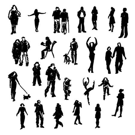 customs and habits: Set of vector people silhouettes. Hand drawn illustrations. Illustration