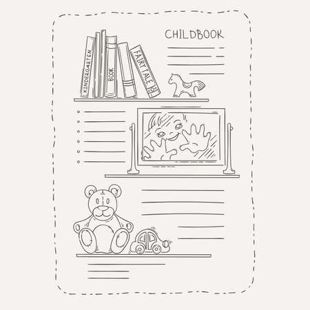 magazine page: Vector doodle page for kids and children. Bookshelf and toys. Child magazine.