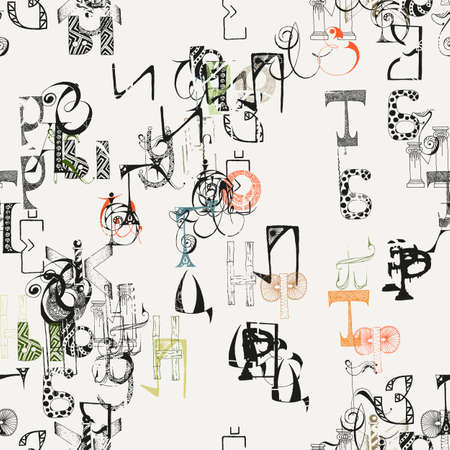 abstract letters: Seamless grunge doodle background. Hand drawn abstract letters. Vector background.