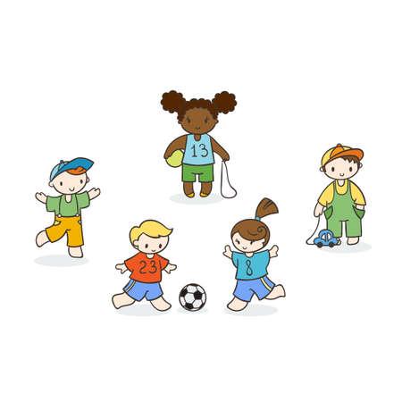 jardin de infantes: Conjunto de niños lindos del doodle. Guardería, campamento, personas colección.