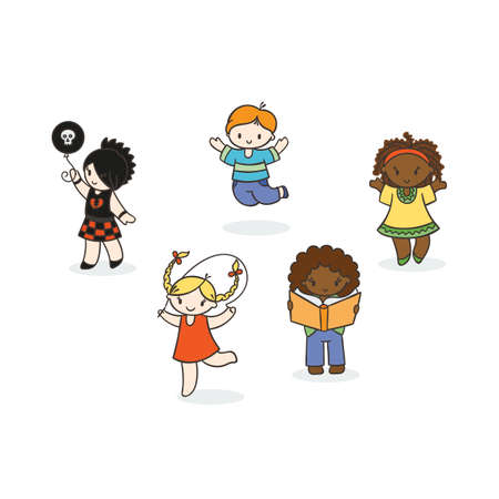 Set of cute doodle children. Kindergarten, camp, people collection.
