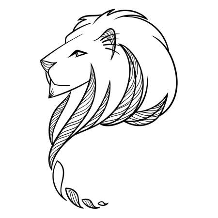 beast: Lion Head Illustration. Print for textile or flyers and posters. Vector picture.
