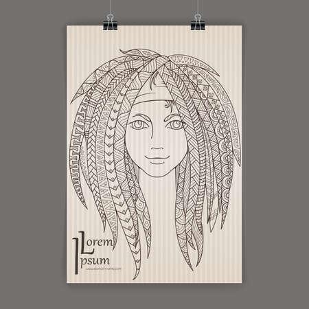 dreads: Stylish presentation of wall poster, magazine cover, design paper print template. Flyer or booklet design. Folder  design content background or backdrop.