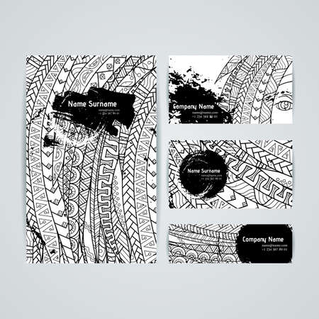 Set of vector design templates. Brochures in random colorful style. Frames and backgrounds.