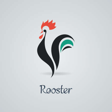 Rooster, cock, chicken vector illustration.
