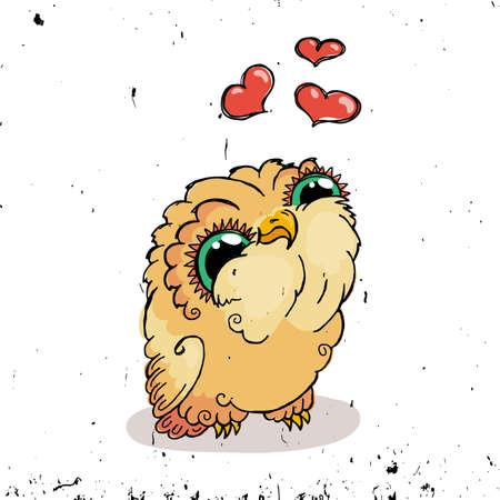 owlet: Cute Owl Doodle Illustration. Grunge Kawaii Picture. Vector Lovely Owlet. Illustration